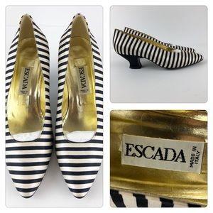 ESCADA Black and Cream Silk Stripe Pumps.